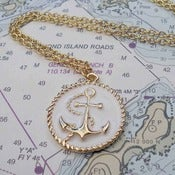 Image of Anchor Pendant in Gold/White