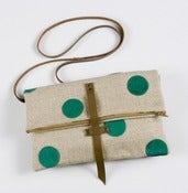 Image of foldover crossbody bag with hand cut leather dots (jade)
