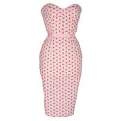 Image of Strapless Floral &quot;Hourglass&quot; Pencil Dress