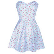 Image of Strapless Blue Floral Dress
