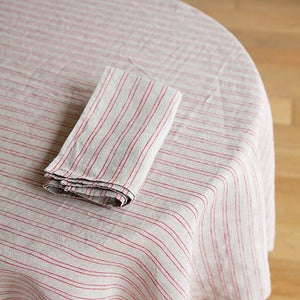 Image of Tablecloth: Natural Red Stripe