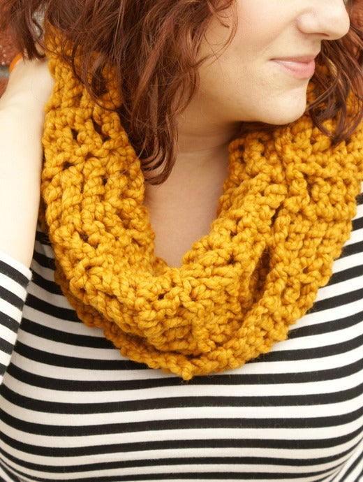 Image of Butterscotch, crocheted infinity cowl