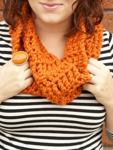 Image of Pumpkin Spice, crocheted infinity cowl