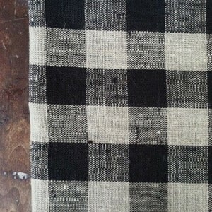 Image of Thick Linen Kitchen Cloth: Black Natural Check