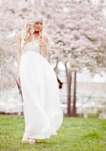 Image of Ivory Empire Waist Sheath Wedding Dress