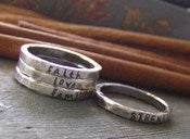 Image of Wider Band Personalized, Hand Stamped, Fine Silver Stacking Rings - Thicker Version