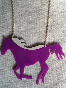 Image of Vinyl record necklace Purple Horse