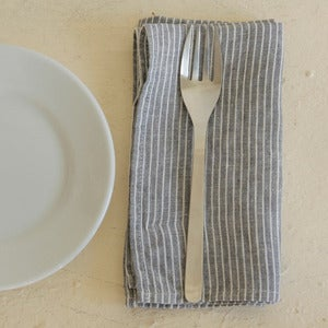 Image of Napkin: Grey Thin White Stripe