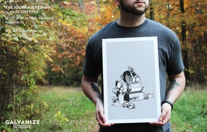 Image of Journalist Chimp Print by Nate Van Dyke