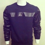 Image of Black modisch leather sleeve sweatshirt