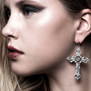 Image of Agnes. Baroque Cross Earrings