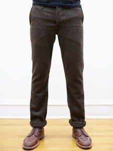 Image of Brown Japanese Wool Flannel Tailored Chinos