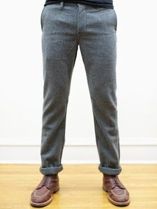 Image of Gray Japanese Wool Flannel Tailored Chinos