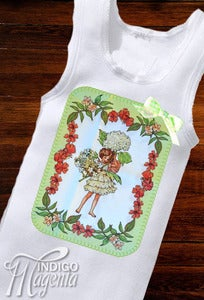 Image of Applique Fairy Singlet - Pistachio on White