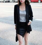 Image of Black Patent Pencil Skirt With Split