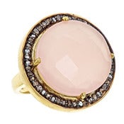 "Image of "" New "" Kara Ackerman <i> Alice Rose <i/> Cocktail Ring in Pink Rose Quartz"