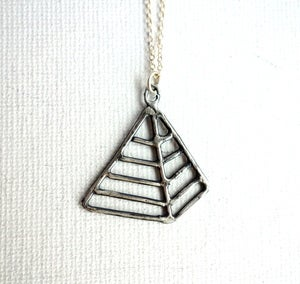Image of Oxidized Sterling Silver Pyramid Pendant