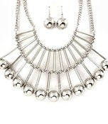 Image of Beaded Bib Style Necklace Set (Silver or Gold)