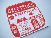 Image of Greetings from Wellington square note card in crimson