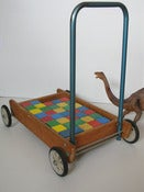 Image of Vintage Baby Walker with Building Blocks