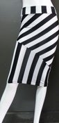 Image of Black and white striped pencil skirt