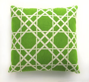 Image of Vintage Spring Green Caning Motif Fabric Pillow