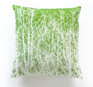 Image of Vintage Vera &quot;Birches&quot; Fabric Spring Green Pillow