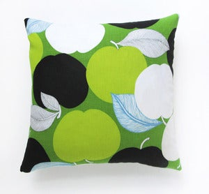 Image of Vintage Screen-Printed Graphic Apples Fabric Pillow