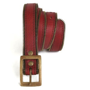 Image of Skinny Zip Belt Red