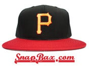 Image of Vintage Deadstock Pittsburgh Pirates Outdoor Cap Co Black Red Snapback Hat Cap