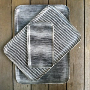 Image of Linen Tray: Grey Thin White Stripe