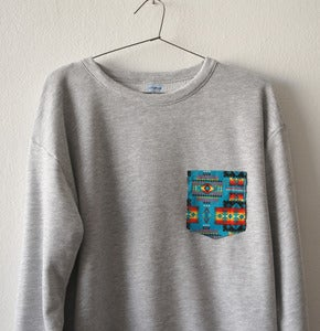 Image of AZTECA POCKET GREY SWEATSHIRT