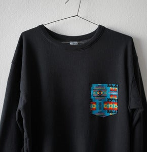 Image of AZTECA POCKET BLACK SWEATSHIRT