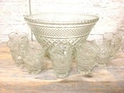 Image of Large, Vintage Punch Bowl with 12 Cups