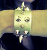 Image of Gold Leather Cuff with Spikes