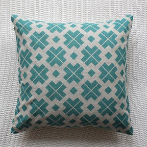 Image of Teal Danish Patterned Cushion