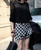 Image of Moment Wrap Skirt in Houndstooth