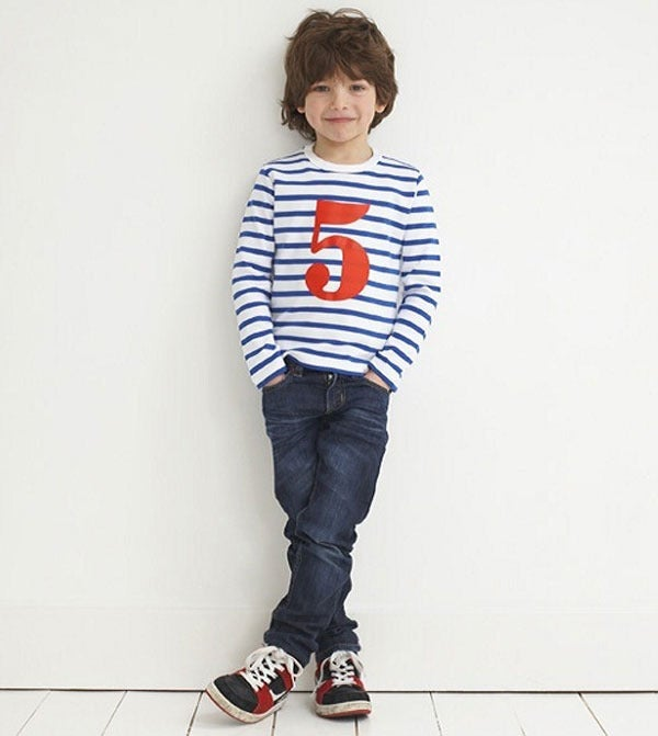 Image of Birthday Tee (No. 1-5), French Blue &amp; White