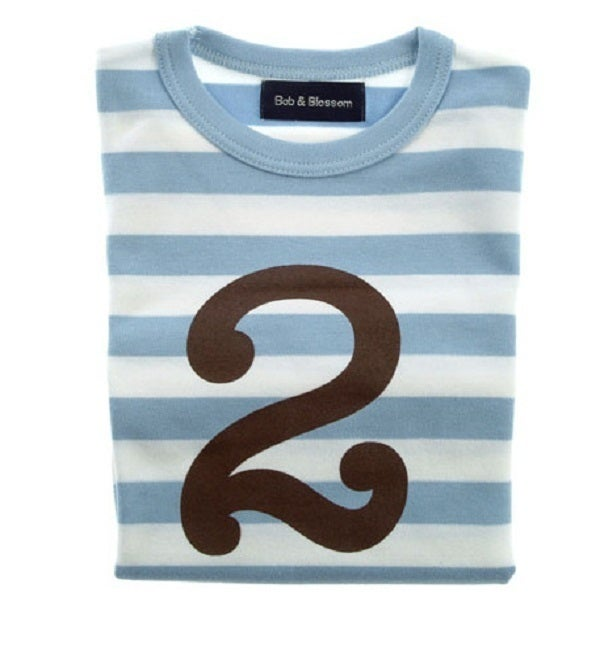 Image of Birthday Tee (No. 1-5), Sky Blue & White