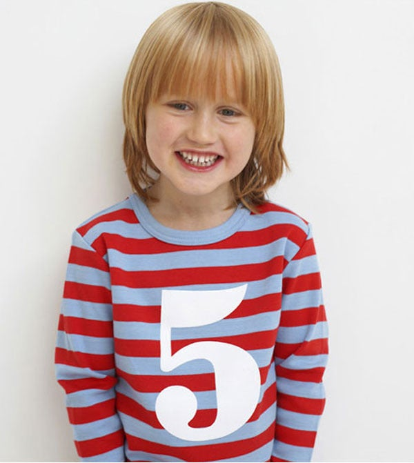 Image of Birthday Tee (No. 1-5), Sky Blue & Red