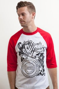 Image of Hands Like Houses - Red Floral Baseball T