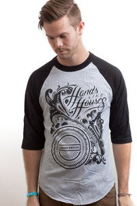 Image of Hands Like Houses - Black Floral Baseball T (XL only)