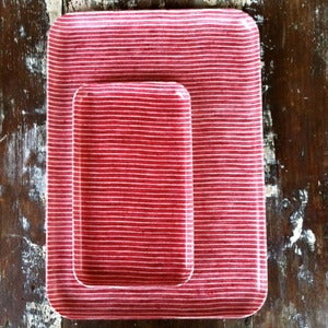 Image of Linen Tray: Red Thin White Stripe