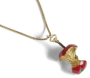 Image of The Red Relished Solid Silver Apple Necklace