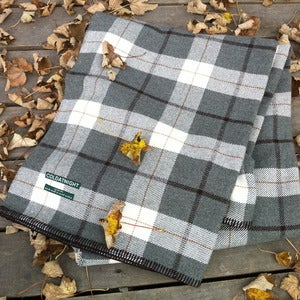 Image of coldatnight plaid blanket in pebble grey
