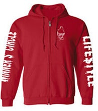Image of MAD CREEPY - ZIP UP HOODIE (RED)
