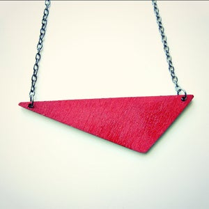Image of Heather // Asymmetrical Hand-painted Wood Triangle Necklace