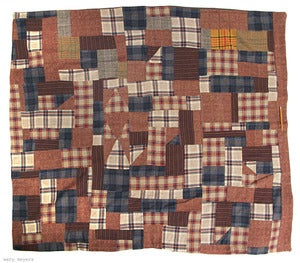 Image of Vintage 1970's Handmade Patchwork Wool Blanket