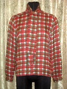Image of VTG Hermes silk plaid blouse SZ 38/8