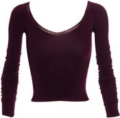 Image of Faster Mark Fast Long Sleeve Ballerina Neck Top Plum SZ S